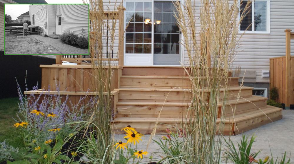 Terrasse en bois et d un patio en pav de b ton plani for Plan de patio exterieur