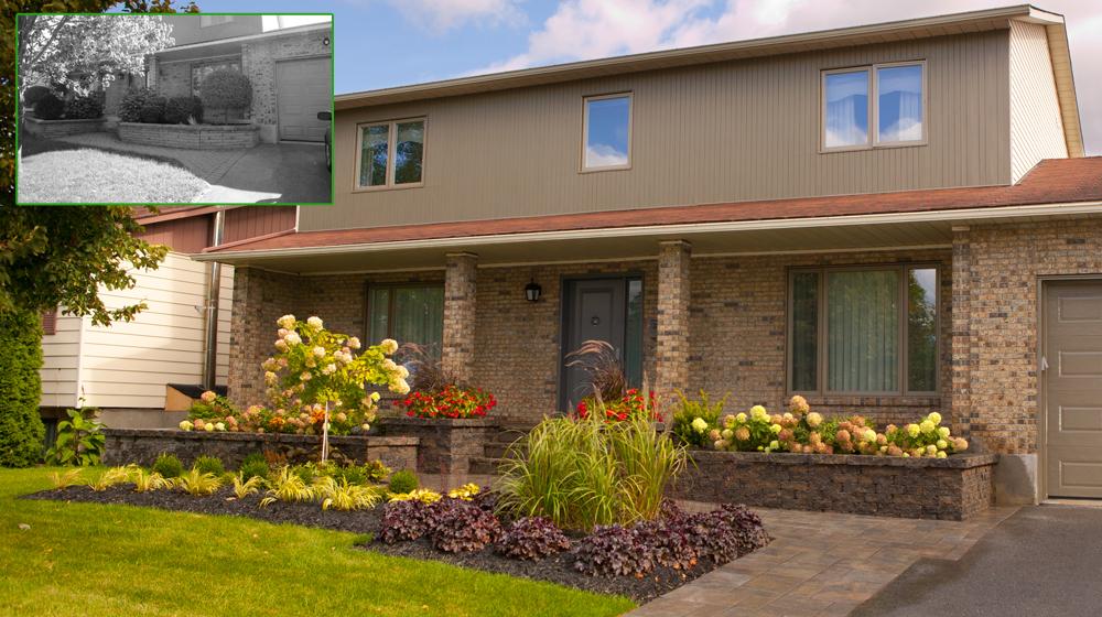 paysagement d une fa ade de maison avec pav de b ton