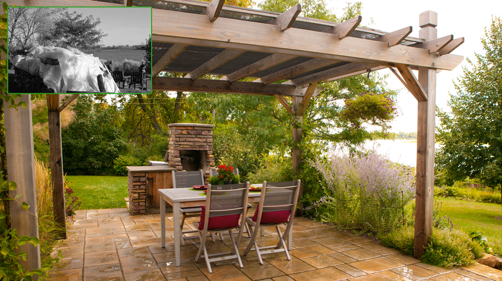Am nagement d un patio en dalle de ciment avec pergola et for Patio exterieur arriere