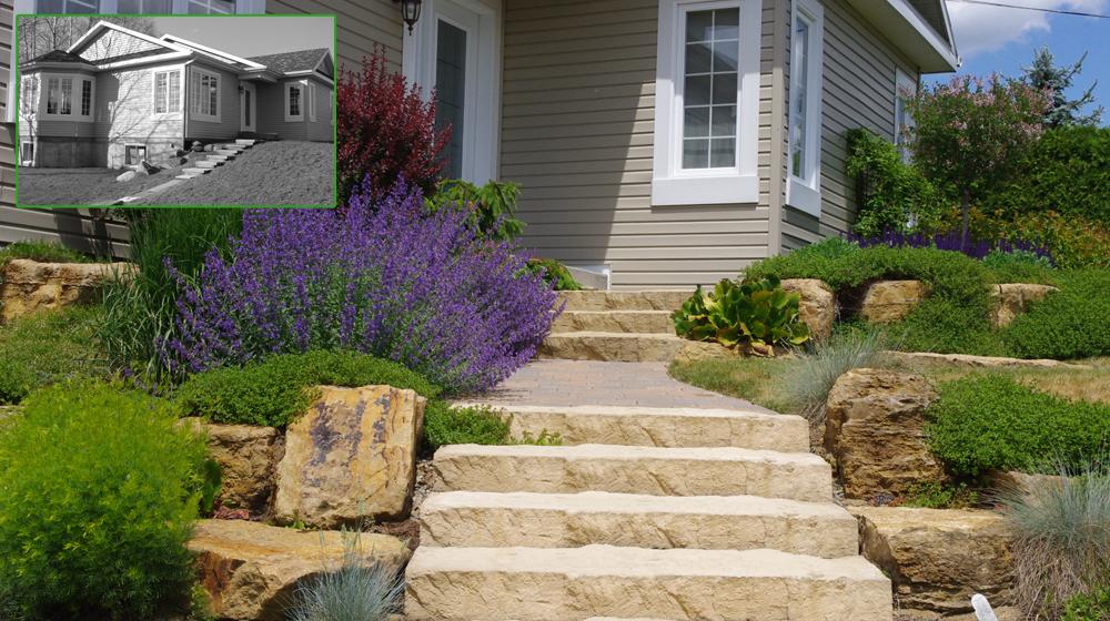 Am nagement paysager d une fa ade avec marches plani paysage - Amenagement paysager devant maison ...
