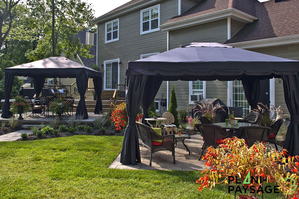 paysagement ext rieur avec gazebo plani paysage. Black Bedroom Furniture Sets. Home Design Ideas