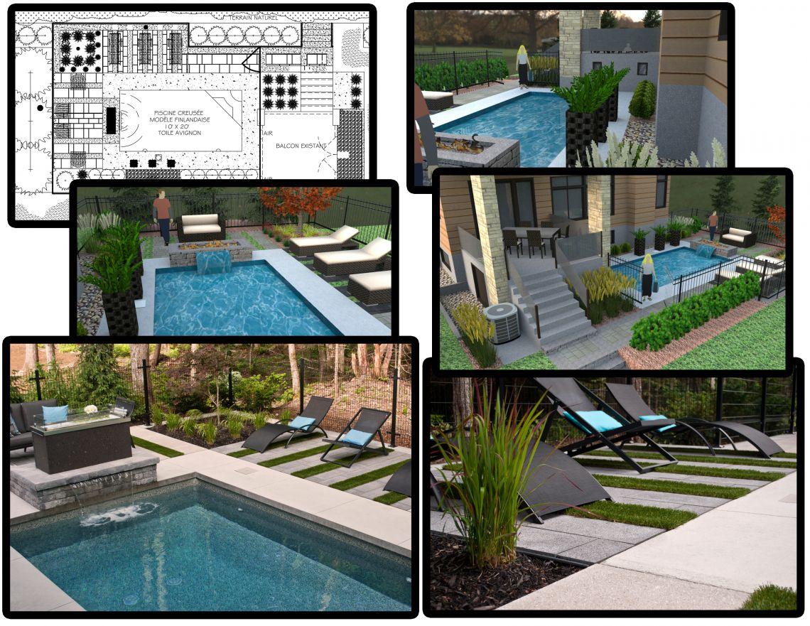 m tamorphose d 39 une cour avec piscine blainville plani paysage. Black Bedroom Furniture Sets. Home Design Ideas