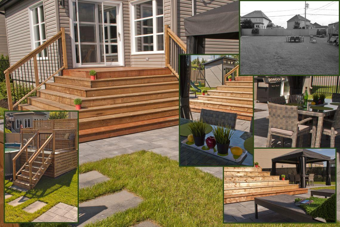 transformation d 39 une cour de banlieue avec piscine hors terre plani paysage. Black Bedroom Furniture Sets. Home Design Ideas